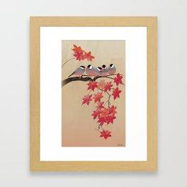 Java Sparrows in Japanese Maple Tree Framed Art Print
