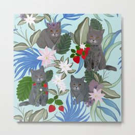 Hand drawn cat with strawberry and tropical flowers pattern Metal Print