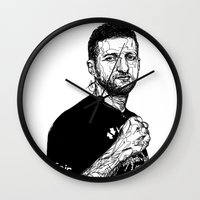 carl sagan Wall Clocks featuring Carl Froch by Hollie B