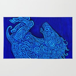 Blue Celtic Horse Abstract Spirals Rug