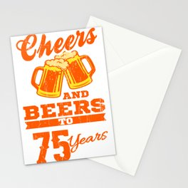 Cheers And Beers To 75th Birthday Gift Idea Stationery Cards