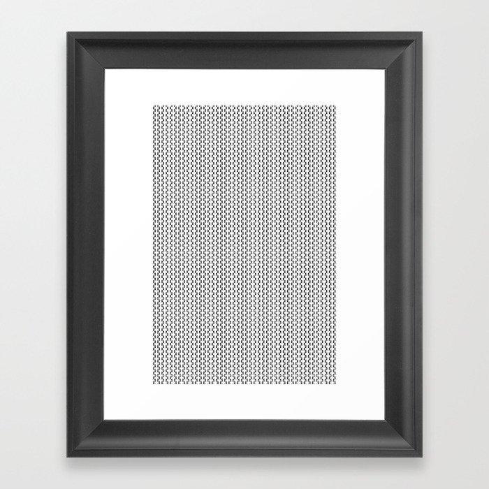 Black and White Basket Weave Shape Pattern 2 - Graphic Design Framed Art Print