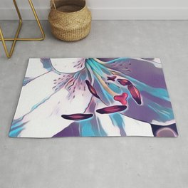 Elegant Azure Blue Lily  Digital Art Rug