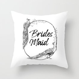 Bridesmaid Gift Peacocks Throw Pillow