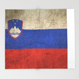 Old and Worn Distressed Vintage Flag of Slovenia Throw Blanket