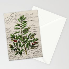 Chic paris scripts kitchen artwork french botanical leaf olive Stationery Cards
