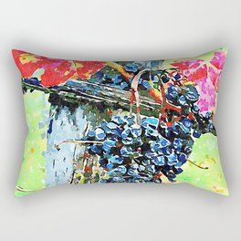 Hortus Conclusus: bunch of black grapes with red leaves Rectangular Pillow
