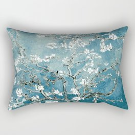 Vincent Van Gogh Almond Blossoms Teal Rectangular Pillow