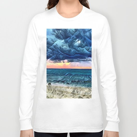 Pastel Sunset on the Beach of the Pacific Ocean Long Sleeve T-shirt