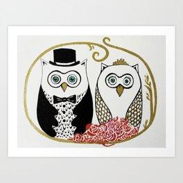 Owls Wedding Art Print