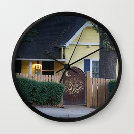 Yellow House with Moon Gate Wall Clock