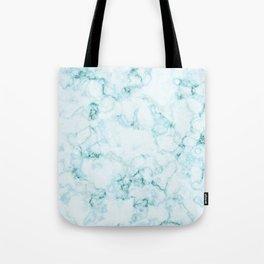 Aqua marine and white faux marble Tote Bag