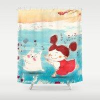 studio ghibli Shower Curtains featuring Fan-art Studio Ghibli  by Maureen Poignonec