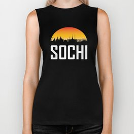 Sunset Skyline of Sochi Russia Biker Tank