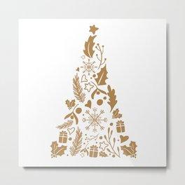 Christmas tree decorative design brown Metal Print