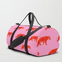 Vintage Cheetahs in Coral + Red Duffle Bag