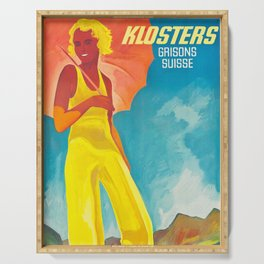 Klosters Style,Vintage Ski Travel Poster Serving Tray