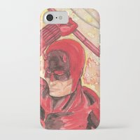 daredevil iPhone & iPod Cases featuring Daredevil by Kirsten L George