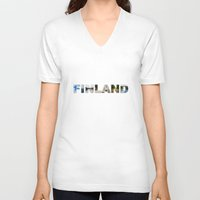finland V-neck T-shirts featuring Finland by Valeria Marelli