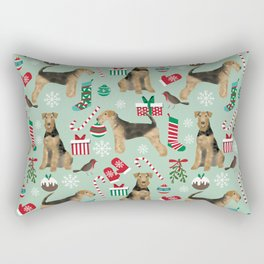 Airedale Terrier christmas stocking candy canes winter snowflakes dog breed Rectangular Pillow