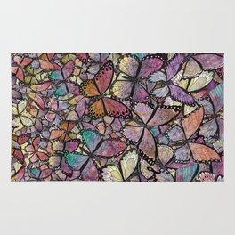 butterflies aflutter rosy pastels version Rug