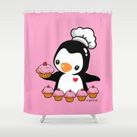 cooking Shower Curtains featuring Cooking Penguin by joanfriends