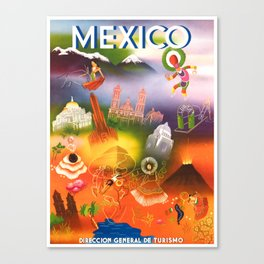 1950 Iconic Mexico Travel Poster Canvas Print