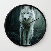 wolf Wall Clocks featuring Wolf by Julie Hoddinott