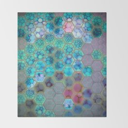 Onion cell hexagons Throw Blanket