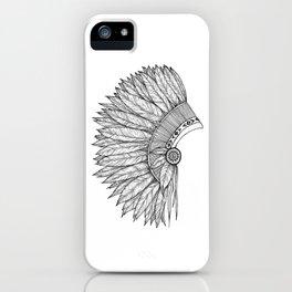 Native Feather Headdress - ink illustration iPhone Case