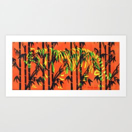 Tiger in The Bamboo Trees Art Print