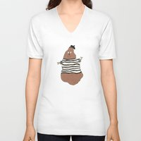 potato V-neck T-shirts featuring Monsieur Potato by Spacecar
