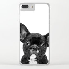 Black and White French Bulldog Clear iPhone Case