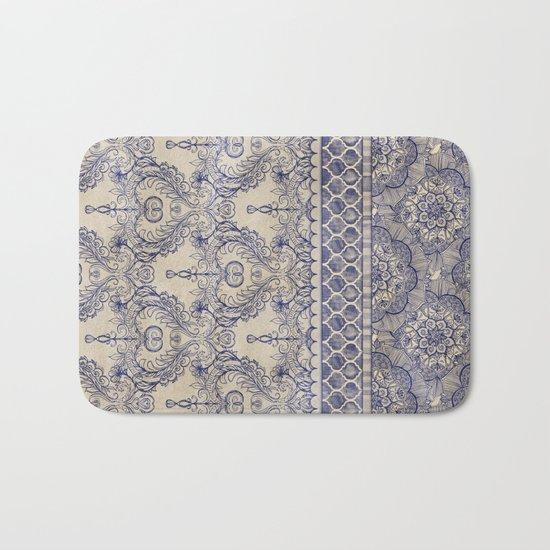 Vintage Wallpaper - hand drawn patterns in navy blue & cream Bath Mat