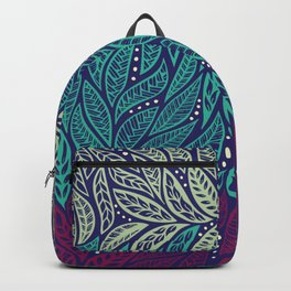 Polynesian floral blue purple tattoo design Backpack
