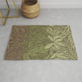 Polynesian Tribal Tattoo Shades Of Green Floral Design Rug