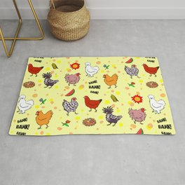 Cute seamless chickens pattern cartoon Rug