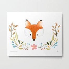 Fox & Florals Metal Print