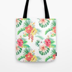 tropical watercolor floral pattern Tote Bag