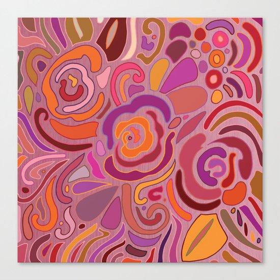 Rose fragments, pink, purple and orange Canvas Print
