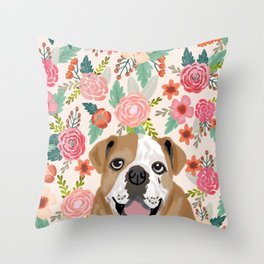 English Bulldog florals spring summer gardener flowers animal pet portrait bulldog owner must haves Throw Pillow