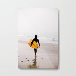 Yellow surf surfer Metal Print
