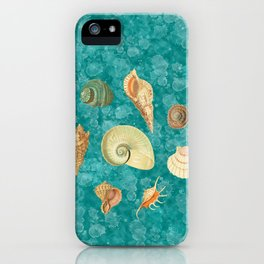 Dancing Shells Turquoise Watercolor Splashes iPhone Case