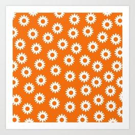 Daisies - Orange BG Art Print