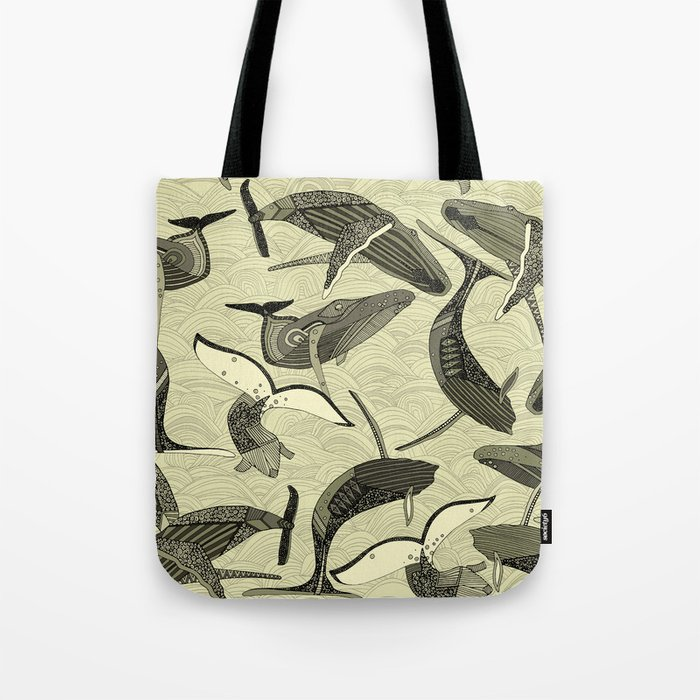 whales and waves natural Tote Bag
