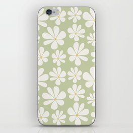 Floral Daisy Pattern - Green iPhone Skin