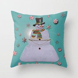 Blue Haze Snowman Ornaments Throw Pillow