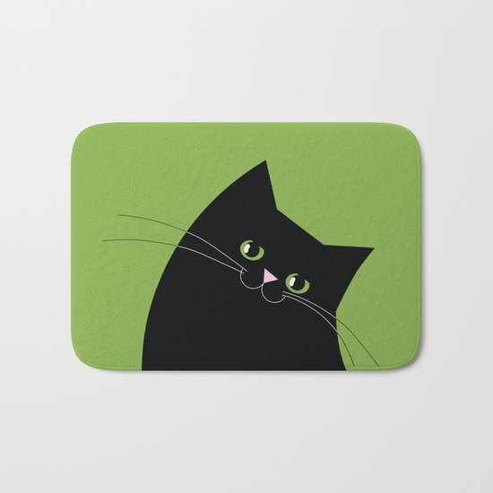 Black Cat and Color of the Year 2017, Greenery Bath Mat