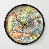 insect Wall Clocks featuring Compositions insect by Maethawee Chiraphong