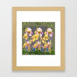 SPRING IRIS GARDEN FLORAL & IVY PATTERN DESIGN Framed Art Print